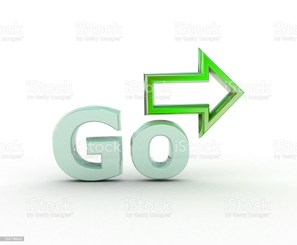 Green Go with a green arrow pointing right royalty-free stock photo