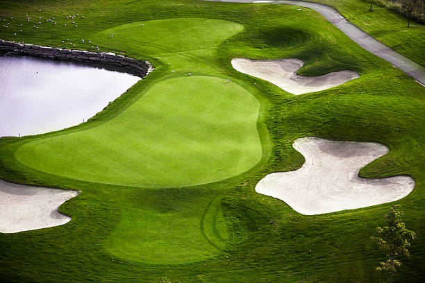 Green golf course aerial view stock photo