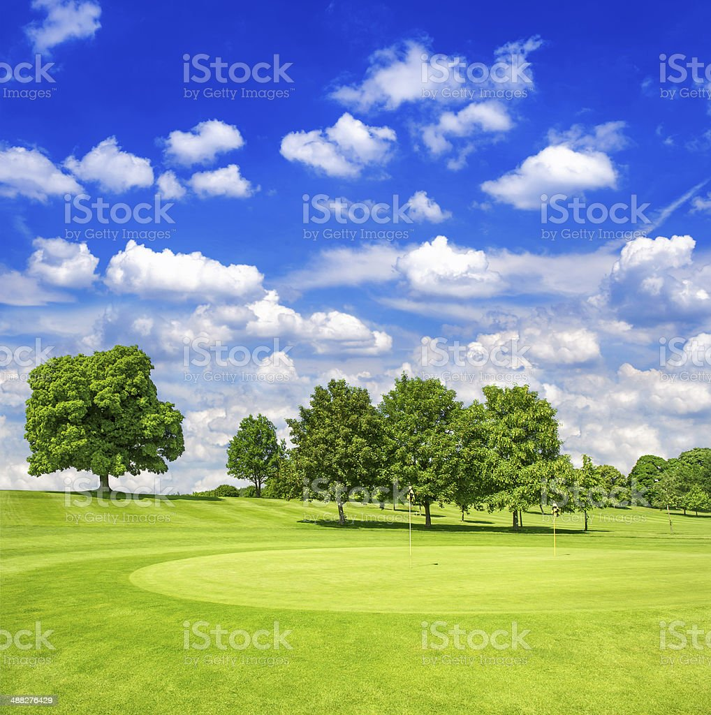 green golf course and blue cloudy sky. european field with trees...