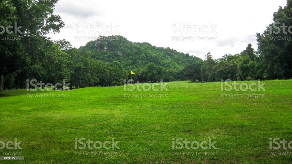 Green golf course stock photo