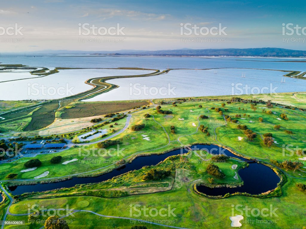 Green golf courses and San Francisco Bay in the evening stock photo