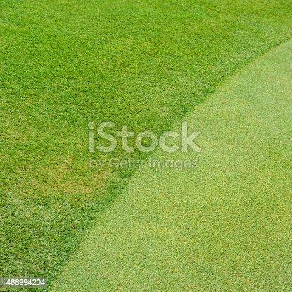 istock Green golf field background 468994204