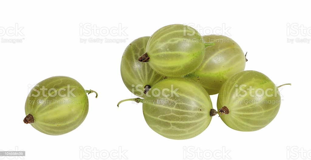 green gooseberry on white background stock photo