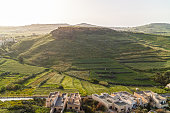 Aerial view of Green Gozo Island and Villages from The Old Medieval Cittadella Tower Castle-Victoria Rabat Town, Malta