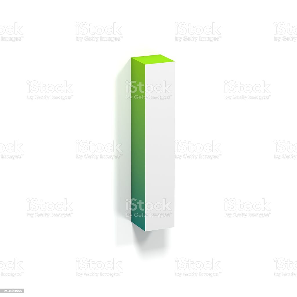 Green gradient and soft shadow letter I stock photo