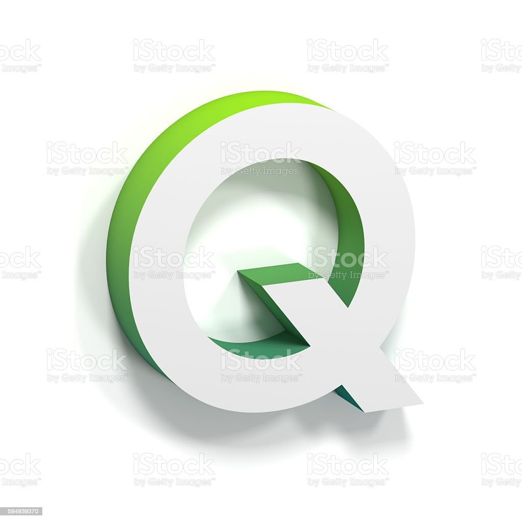 Green gradient and soft shadow letter Q stock photo