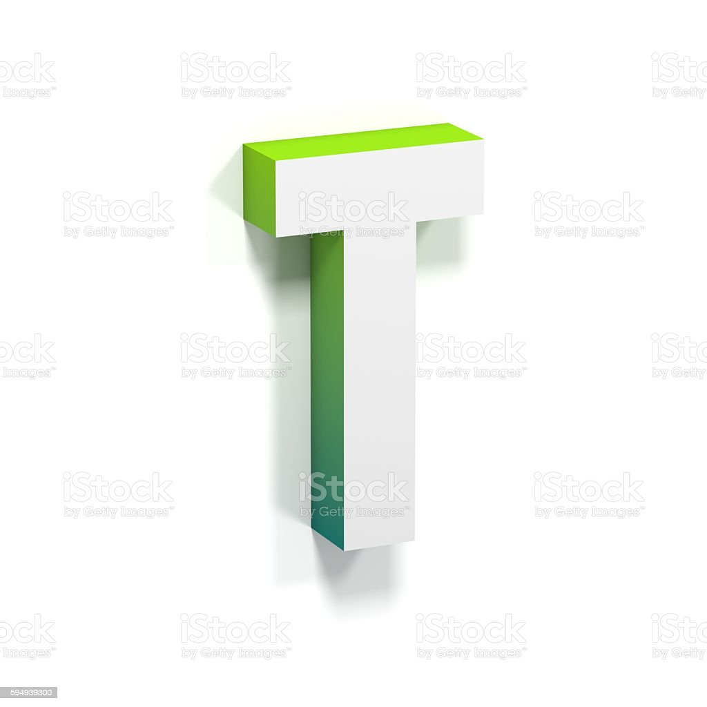 Green gradient and soft shadow letter T stock photo