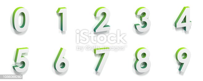 istock Green gradient and soft shadow numbers 0-9 3D 1056088260