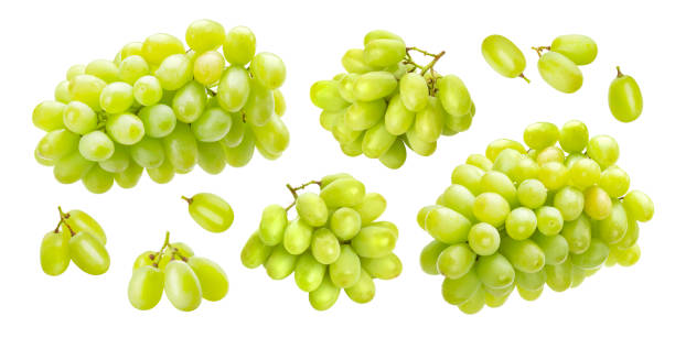 Green grape isolated on white background, collection stock photo
