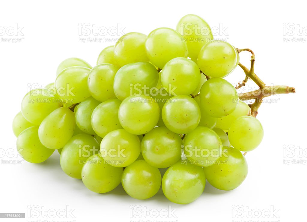 Green grape isolated on white background stock photo