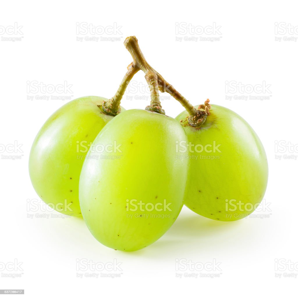 Green grape. Three berries isolated on white background stock photo
