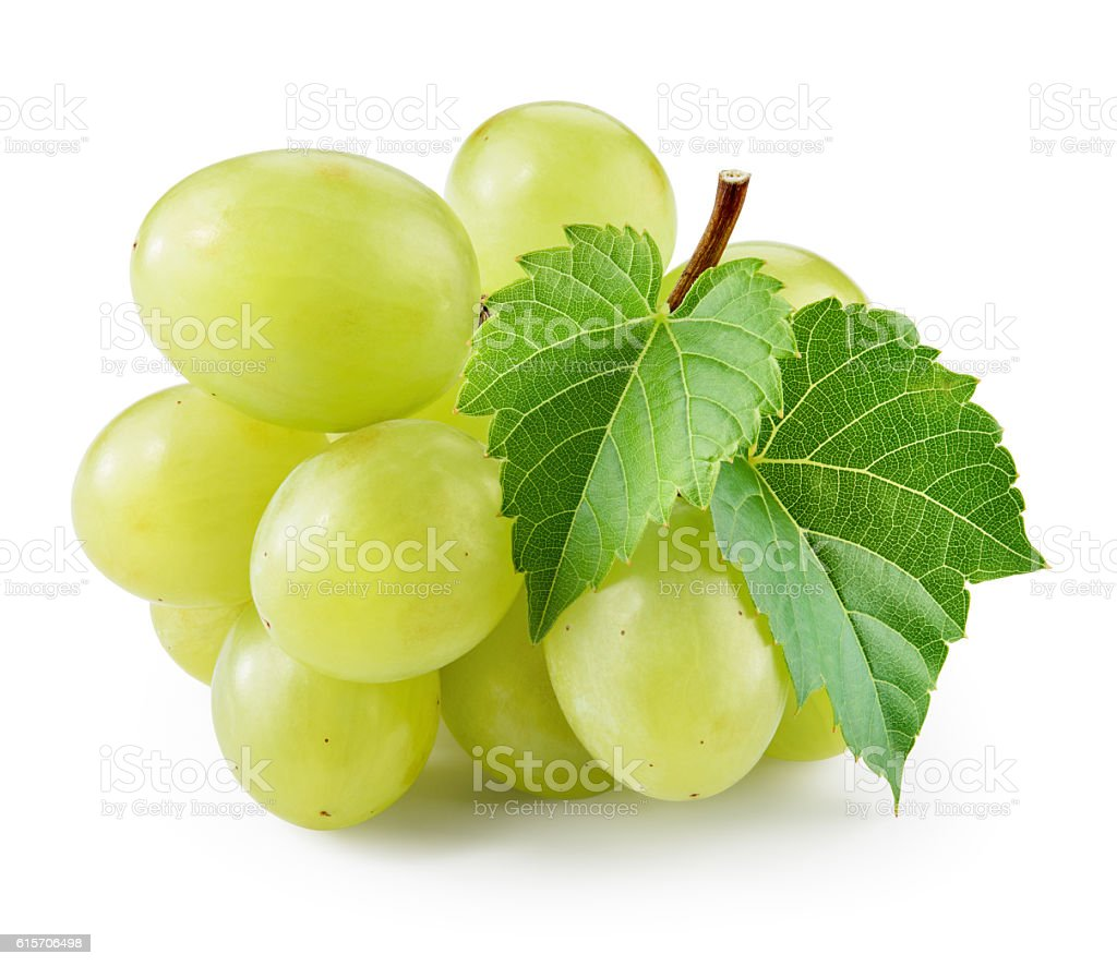 Green grape with leaf isolated on white. With clipping path. stock photo