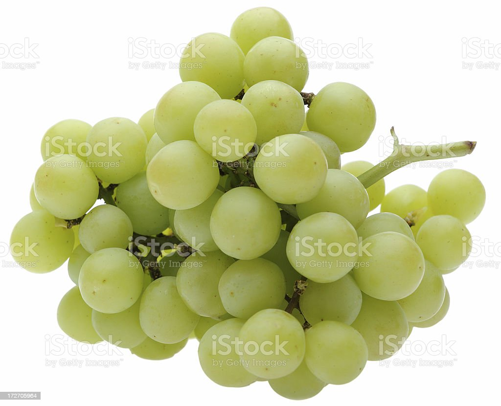 Green Grapes Isolated On White Background royalty-free stock photo