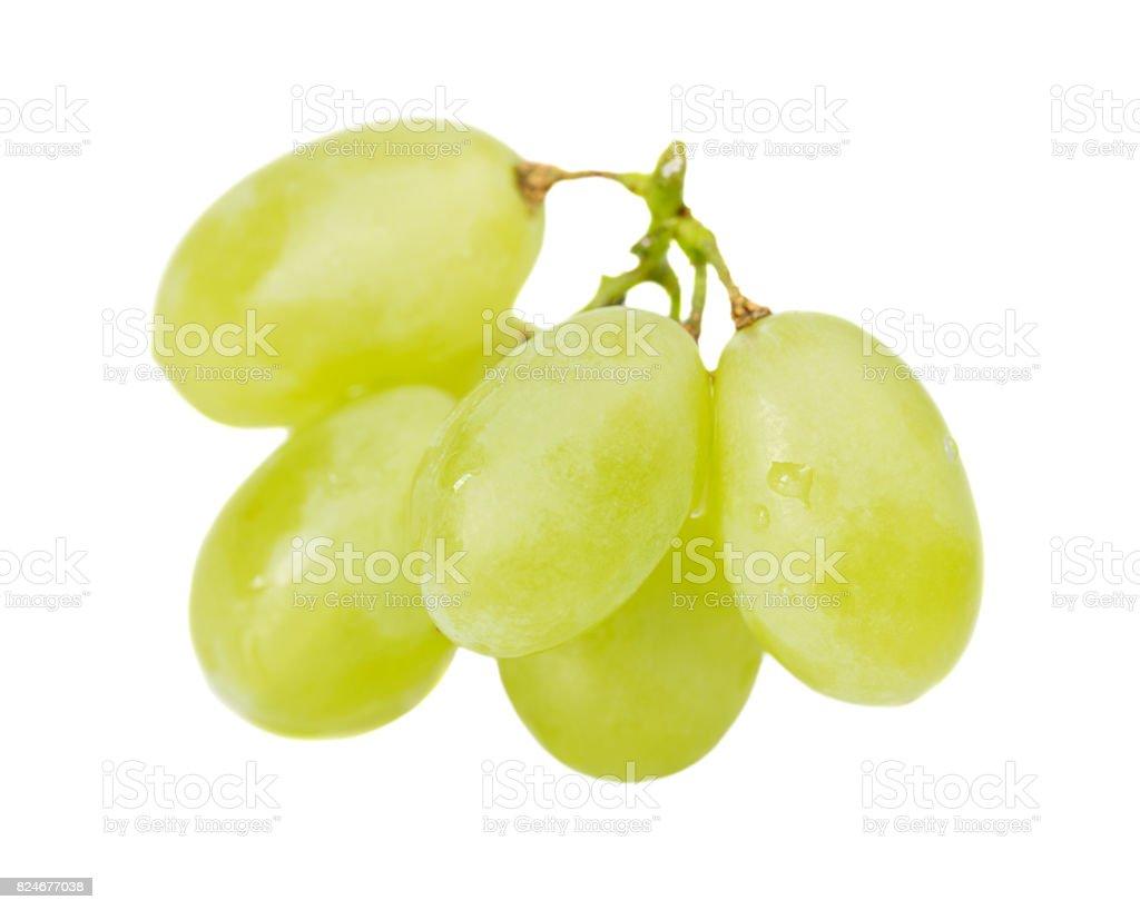 Green grapes on white stock photo