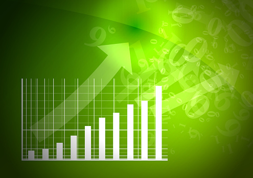 istock Green graph is going up. 831745600