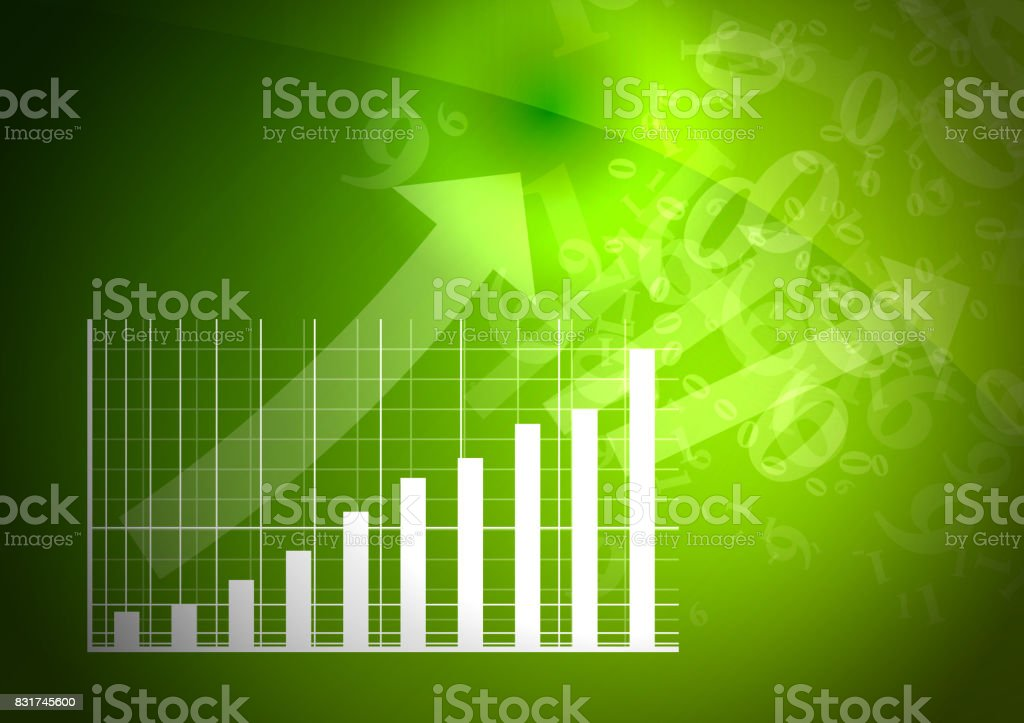 Green graph is going up. stock photo