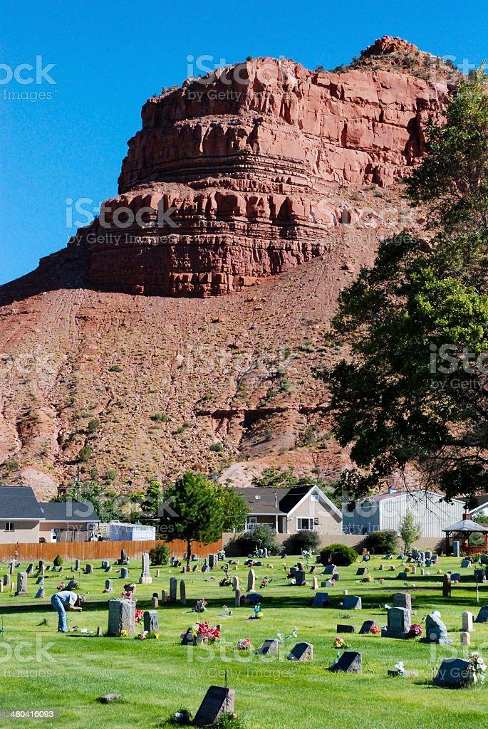 Green grass and Cemetery Vermilion Cliffs Kanab Utah stock photo