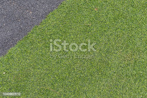istock Green grass and gravel concrete background, Decorative exterior texture abstract background. 1040902510