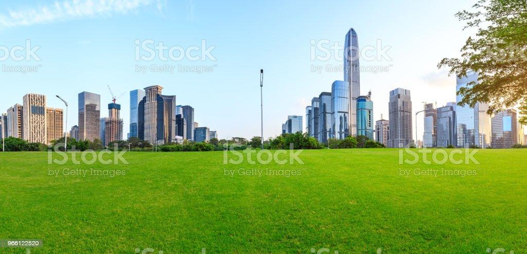 Groen gras en moderne stad skyline landschap in Shenzhen - Royalty-free Achtergrond - Thema Stockfoto