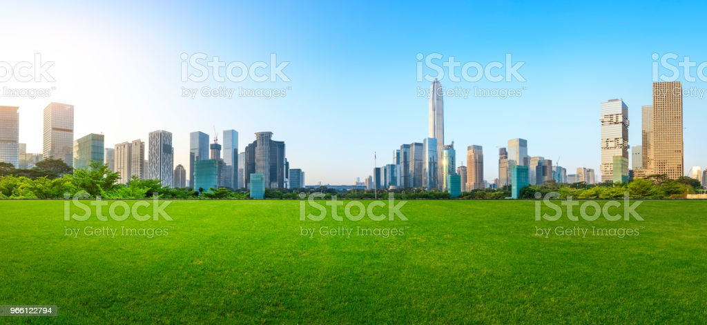 Green grass and modern city skyline scenery in Shenzhen - Royalty-free Agricultural Field Stock Photo
