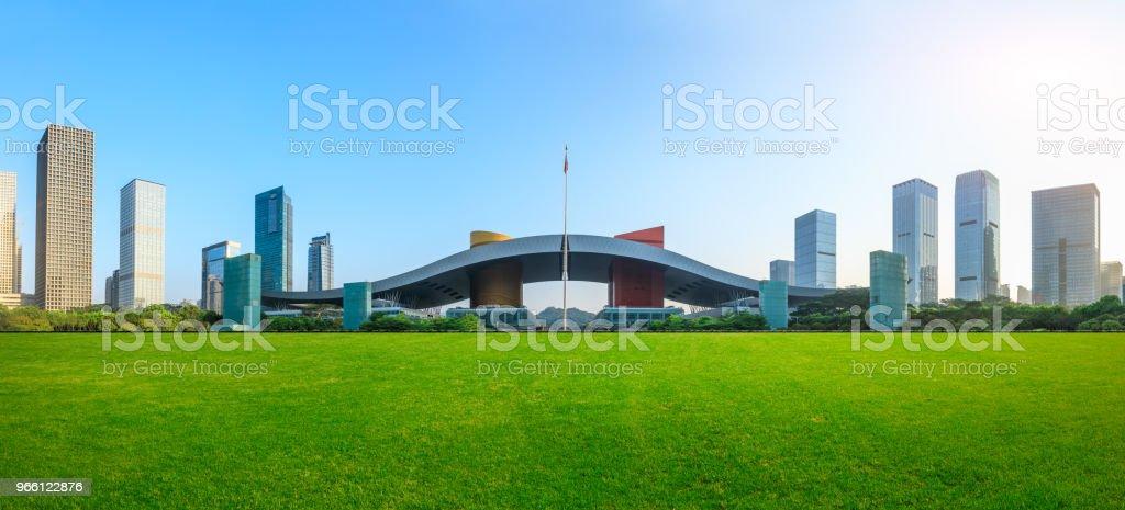 Hierba verde y paisajes de horizonte moderno de la ciudad de Shenzhen - Foto de stock de Aire libre libre de derechos