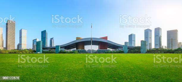 Grönt Gräs Och Moderna City Skyline Landskap I Shenzhen-foton och fler bilder på Arkitektur