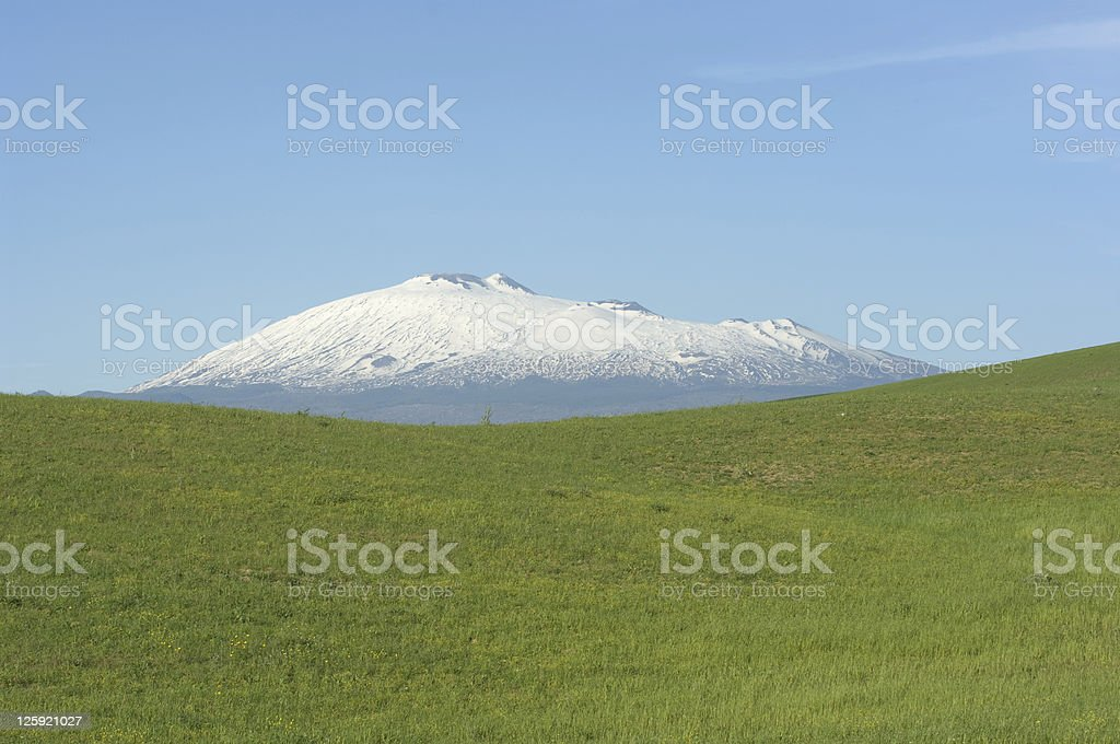 Green Grass And Mount Etna royalty-free stock photo