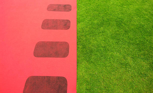 grünem gras und rotem teppich - hochzeits thema hollywood stock-fotos und bilder