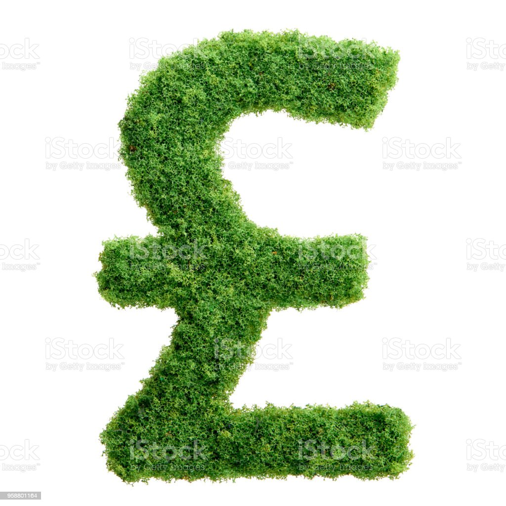 Green Grass Eco British Pound Currency Symbol Isolated Stock Photo