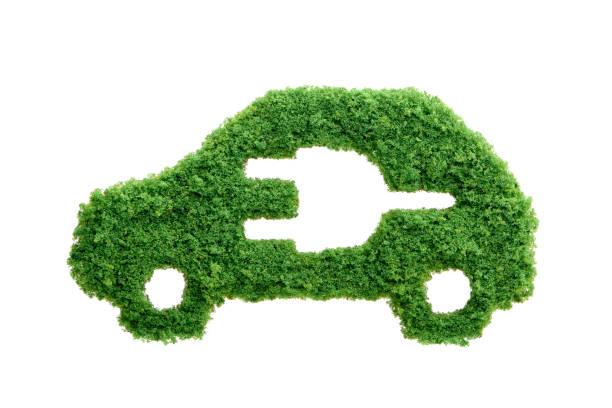 green grass eco electric car isolated - auto a combustibile alternativo foto e immagini stock