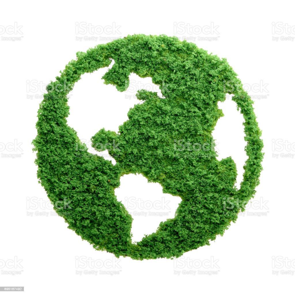 Hierba verde eco planeta tierra aislada - foto de stock