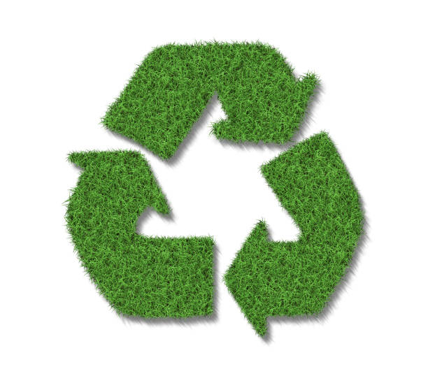 Green grass eco recycle symbol isolated stock photo