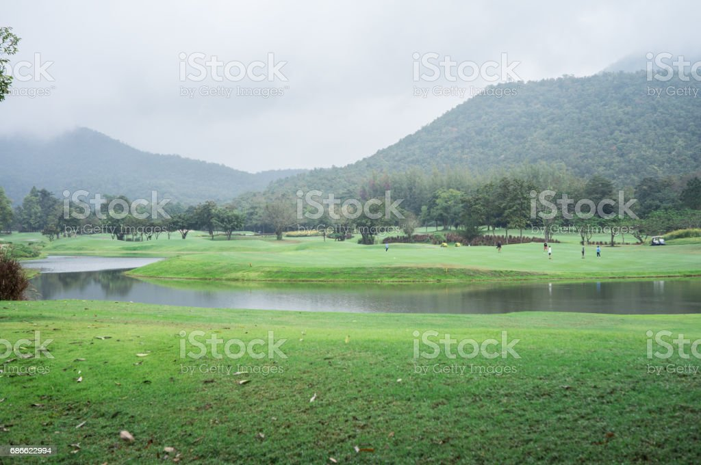 Green grass field in big city park, landscape view of golf course at the beautiful golf course. royalty-free stock photo