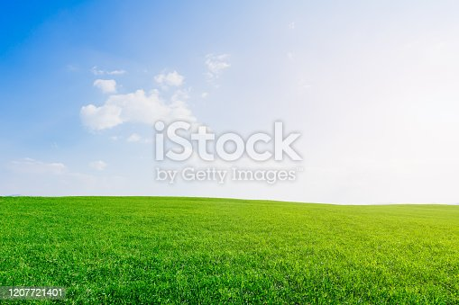 istock Green grass field with blue sky and white clouds. 1207721401