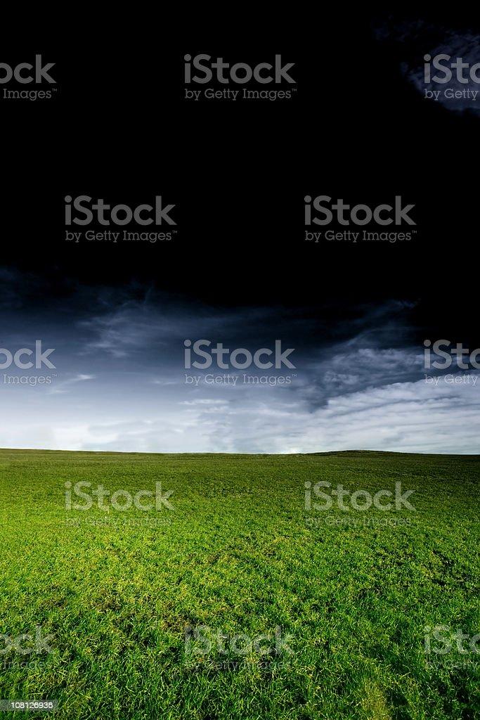 Green Grass Field with Dark Stormy Sky royalty-free stock photo