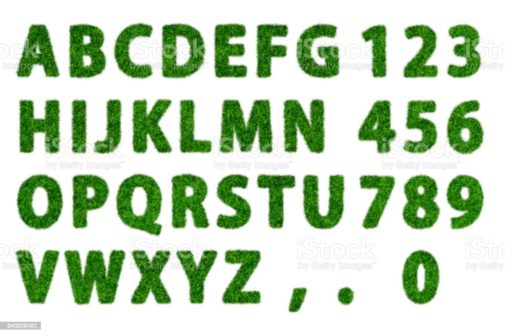 green grass flat alphabet with white background stock photo