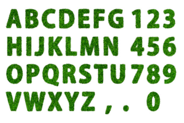 green grass flat alphabet with white background - typescript stock pictures, royalty-free photos & images