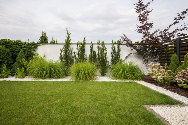 grünen rasen, blumen und bäumen auf der terrasse mit büschen und weißen steinen - terrasse grundstück stock-fotos und bilder