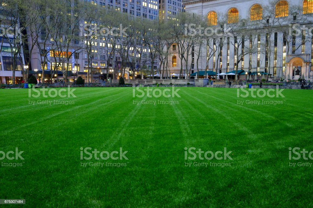 Green Grass in Bryant Park stock photo