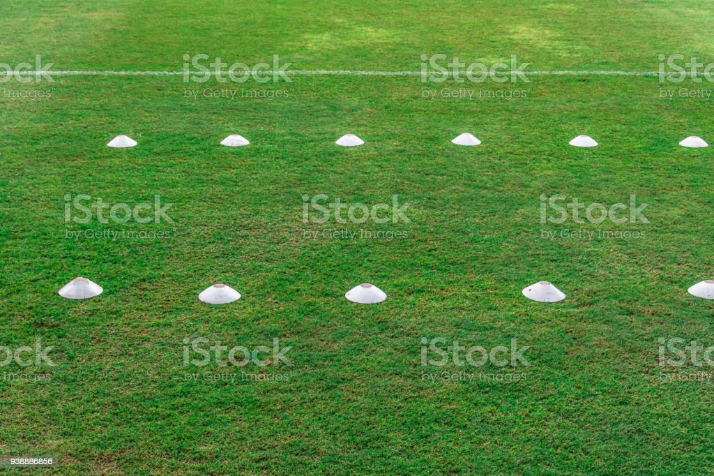 green grass in soccer stadium field with stadium on blue sky background green n12 green