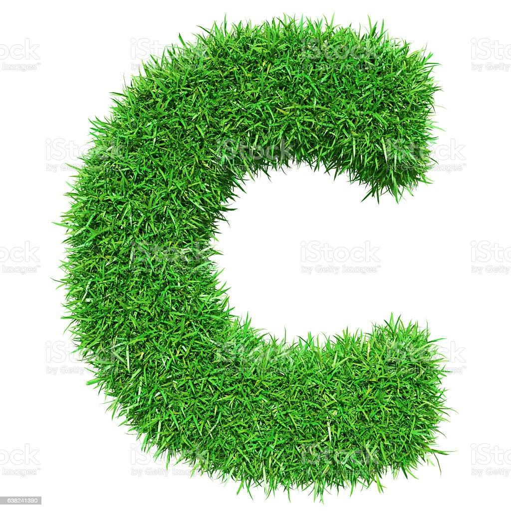 Green Grass Letter C stock photo