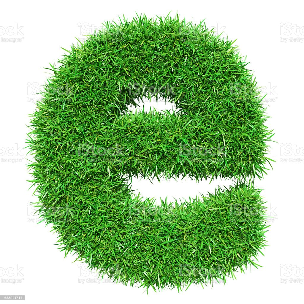 Green Grass Letter E stock photo