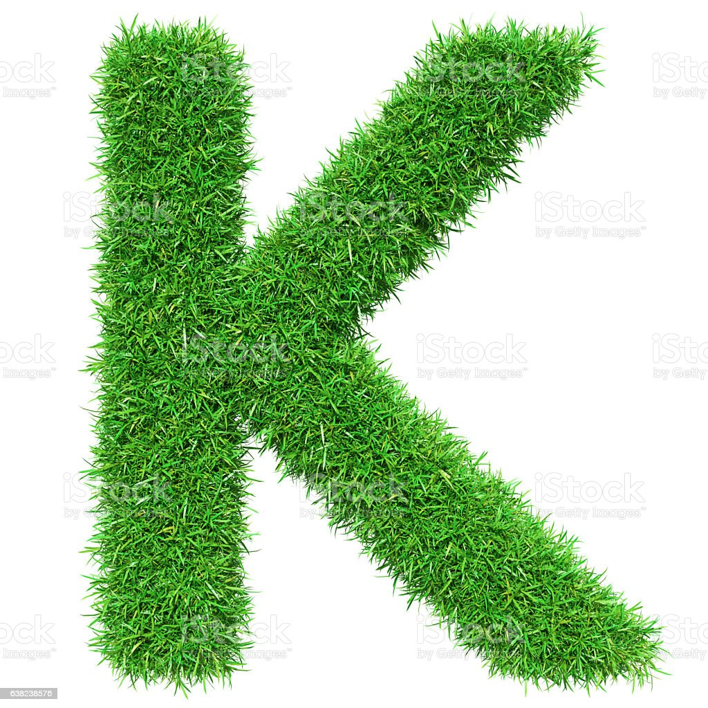 Green Grass Letter K stock photo