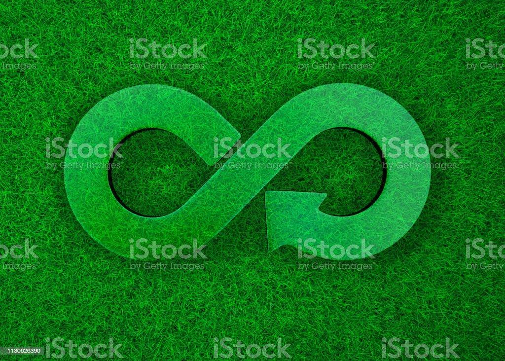 Grünen Rasen Wiese transparent Pfeil Unendlichkeit Recyclingsymbol, 3D illustration – Foto