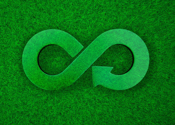 Green grass meadow transparent arrow infinity recycling symbol, 3D illustration stock photo