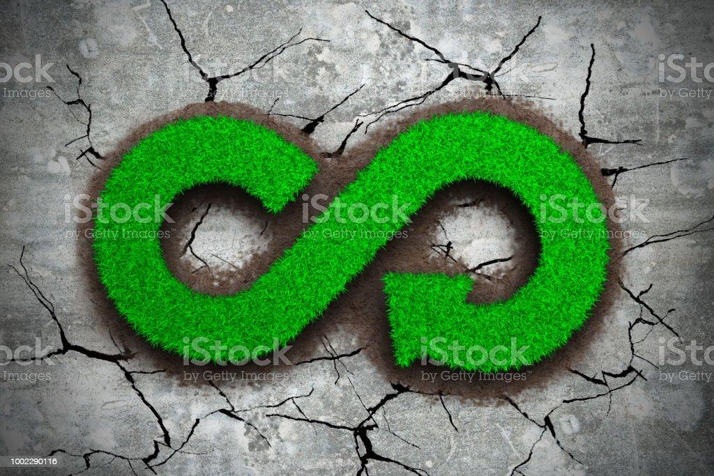 Grünen Rasen der Pfeil Unendlichkeit Recyclingsymbol – Foto