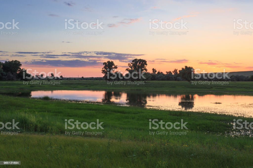 Green grass on the shore, the reflection of trees in the water of the lake, the evening sky after sunset royalty-free stock photo