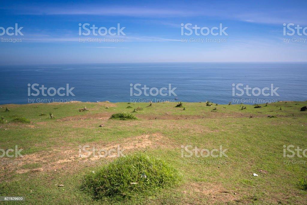 Green grass on Thoi Loi Mountain stock photo
