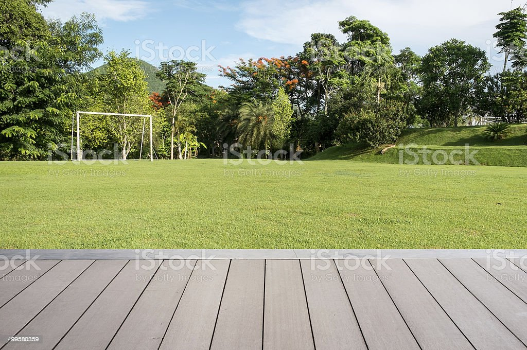 Green grass soccer field by the terrace. stock photo