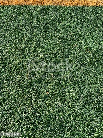 Perfect green grass with yellow line.
